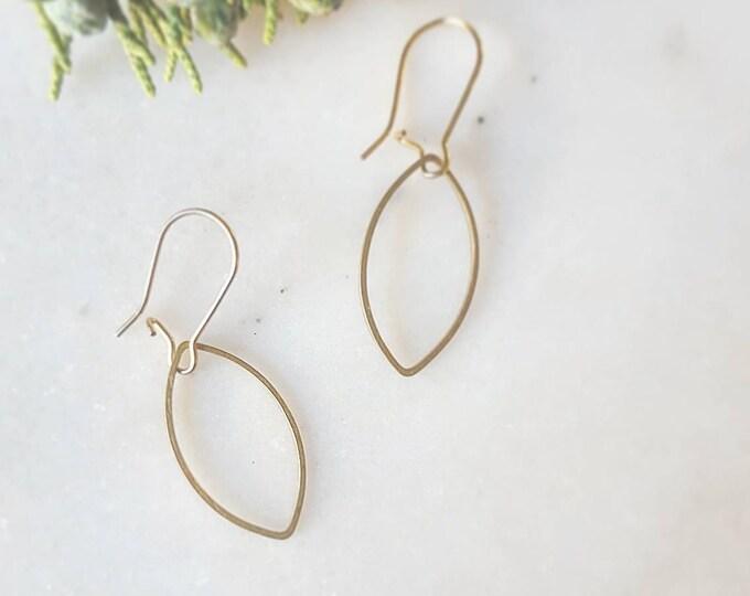 Brass petal dangle earrings
