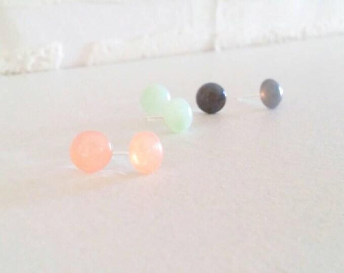 7mm small faux stone studs, rose quartz, jade, smoky quartz