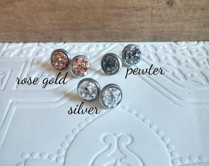 Druzy studs - silver stainless surgical steel setting rose gold pewter silver 10mm