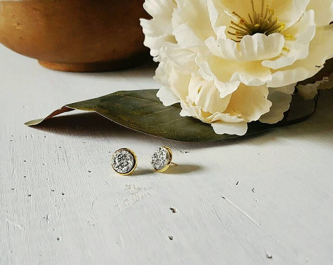 silver and gold druzy studs