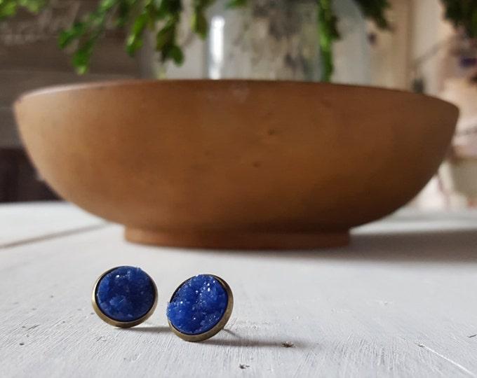cobalt blue druzy studs on antique bronze setting