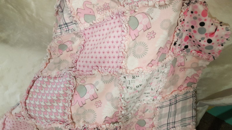 Handmade Pink /& Gray Elephant Quilt Set C-72