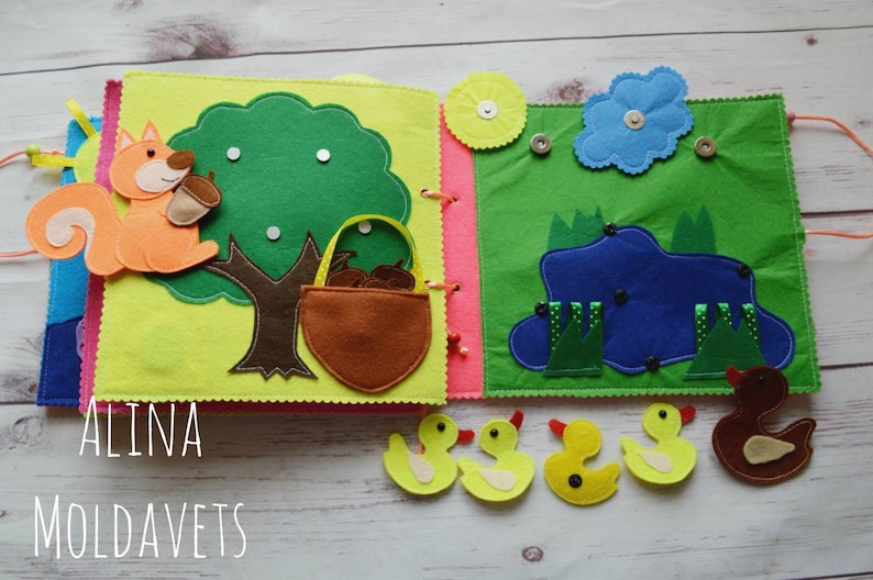 Learning Activity Busy Book Educational Gift Quiet Book Page Quiet Book Christmas Gifts Felt Books Birthday Personalized