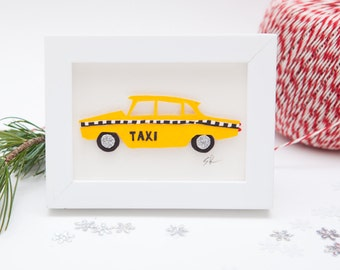 Miniature New York taxi papercut art // Christmas gift - personalized gift - handmade - New York souvenir - taxi picture - collage
