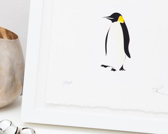Penguin papercut art // christmas gift - personalized gift - handmade - penguin picture - winter bird - snow - monochrome - nursery wall art