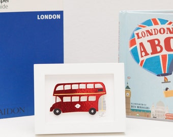 Miniature London bus papercut art // Christmas gift - personalized gift - handmade - London, England, Great Britain souvenir - bus picture