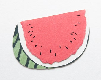 Mini Watermelon handmade papercut picture FRAMED // exotic fruits - wall art - watermelon art print - interior decor - fruit picture - perso