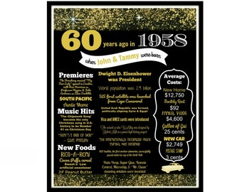 60th Birthday Gift For Mom Back In 1958 Poster Black And Gold Party Decor Golden Decorations