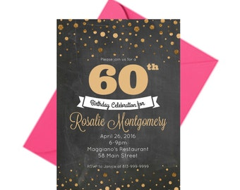 60 Birthday Invitations 60th Anniversary For Men Adult Party Dad PRINTABLE