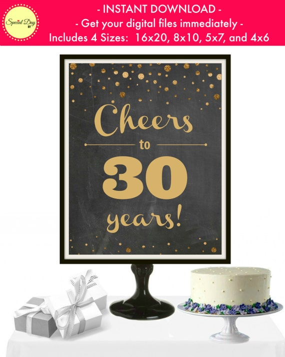 Cheers To 30 Years 30th Birthday Decorations 30 Year Anniversary Dirty 30 30 Year Old Birthday Cheers And Beers To 30 Years Printable