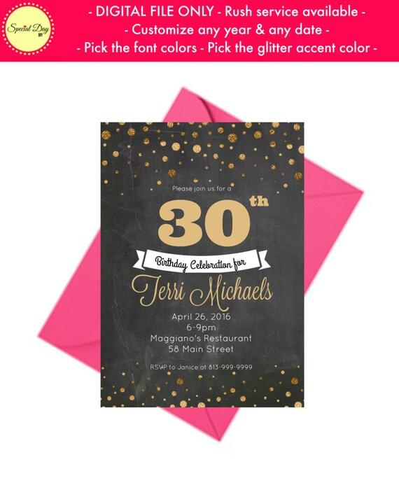 30th Birthday Invite Personalized Invitations