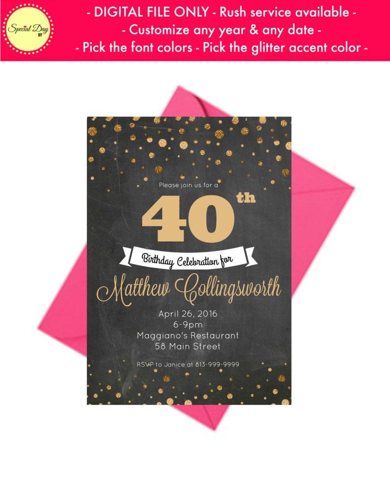 40th Birthday Invitation For Men Personalized