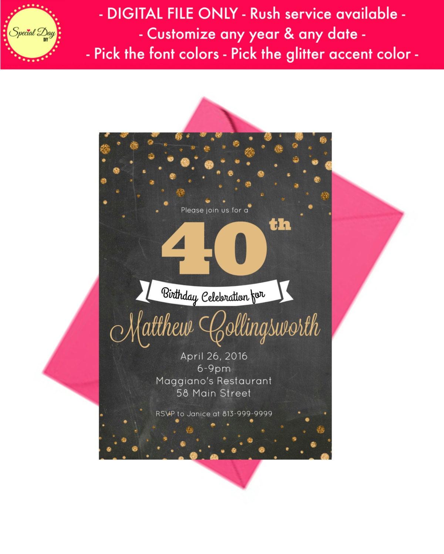 40th Birthday Invitation For Men Personalized Invite Anniversary Invitations Wedding PRINTABLE