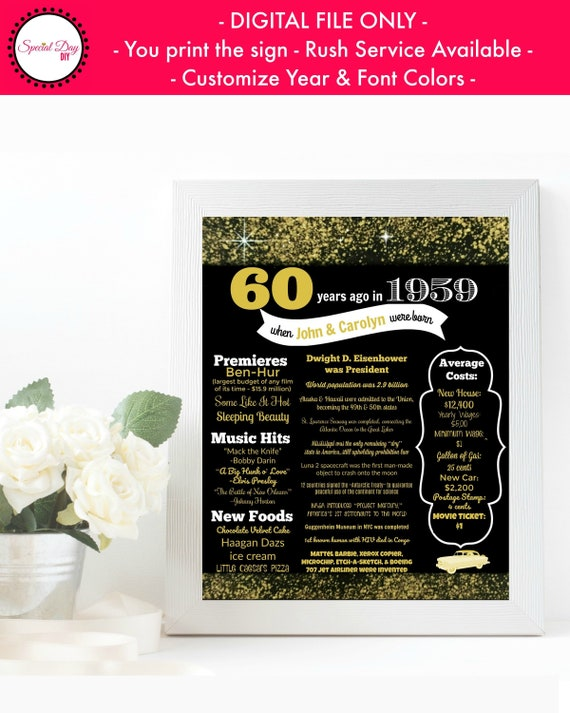 60th Birthday Chalkboard Born in 1959 Stats Sign Photo Prop Poster