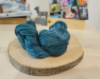 Cyprus, Lace Weight Yarn, Farm Grown Kid Mohair - Wool - Silk (70/20/10), Hand dyed Skein,Semi-solid, Butterfly Kisses Yarn, 438m/50g