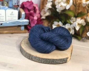 Cobalt Blue, Fingering Weight Yarn, Farm Grown Kid Mohair - Silk - Wool (75/15/10),  Hand dyed Skein, Semi-solid, Fireweed Yarn, 355m/100g