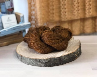 Copper, Lace Weight Yarn, Farm Grown Kid Mohair - Wool - Silk (70/20/10), Hand dyed Skein,Semi-solid, Butterfly Kisses Yarn, 438m/50g