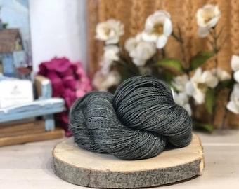 Metallic Grey, Fingering Weight Yarn, Farm Grown Kid Mohair - Silk - Wool (75/15/10),  Hand dyed Skein, Semi-solid, Fireweed Yarn, 355m/100g
