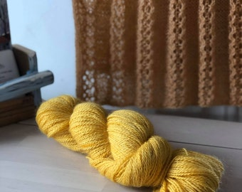 Royal Yellow, Hand dyed Skein, Farm Grown Mohair - Wool, Fingering Weight, Semi-solid, Trillium Yarn, 328m/100g