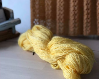 Mimosa, Hand dyed Skein, Farm Grown Mohair - Wool, Fingering Weight, Semi-solid, Trillium Yarn, 328m/100g, Light yellow