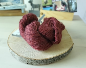 Mulberry, Lace Weight Yarn, Farm Grown Kid Mohair - Wool - Silk (70/20/10), Hand dyed Skein,Semi-solid, Butterfly Kisses Yarn, 438m/50g
