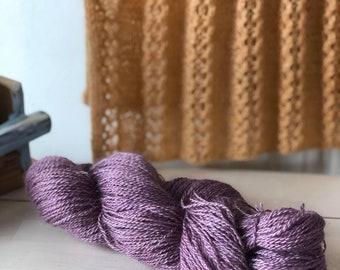 Amethyst, Hand dyed Skein, Farm Grown Mohair - Wool, Fingering Weight, Semi-solid, Trillium Yarn, 328m/100g