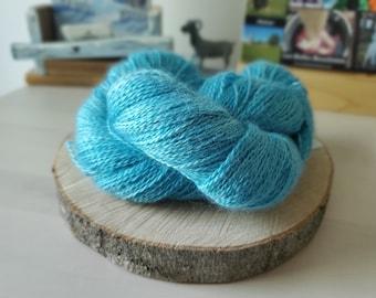 Teal, Fingering Weight Yarn, Farm Grown Kid Mohair - Silk - Wool (75/15/10),  Hand dyed Skein, Semi-solid, Fireweed Yarn, 355m/100g