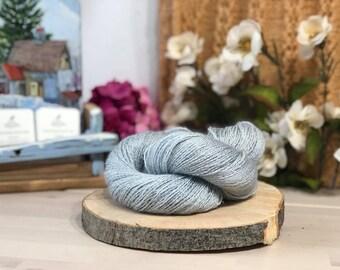 Duck egg, Fingering Weight Yarn, Farm Grown Kid Mohair - Silk - Wool (75/15/10),  Hand dyed Skein, Semi-solid, Fireweed Yarn, 355m/100g