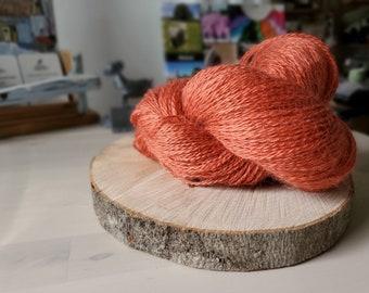 Salmon, Fingering Weight Yarn, Farm Grown Kid Mohair - Silk - Wool (75/15/10),  Hand dyed Skein, Semi-solid, Fireweed Yarn, 355m/100g
