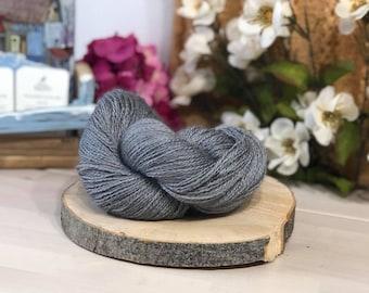 Light Grey, Fingering Weight Yarn, Farm Grown Kid Mohair - Silk - Wool (75/15/10),  Hand dyed Skein, Semi-solid, Fireweed Yarn, 355m/100g