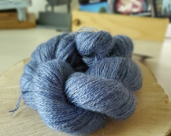 Copen Blue, Lace Weight Yarn, Farm Grown Kid Mohair - Wool - Silk (70/20/10), Hand dyed Skein,Semi-solid, Butterfly Kisses Yarn, 438m/50g