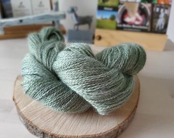 Light Fern, Fingering Weight Yarn, Farm Grown Kid Mohair-Silk-Wool (75/15/10),  Hand dyed Skein, Semi-solid, Fireweed Yarn, 355m/100g