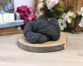 Slate Grey, Fingering Weight Yarn, Farm Grown Kid Mohair - Silk - Wool (75/15/10),  Hand dyed Skein, Semi-solid, Fireweed Yarn, 355m/100g