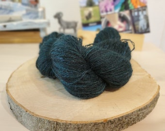 Dark Cyprus, Lace Weight Yarn, Farm Grown Kid Mohair - Wool - Silk (70/20/10), Hand dyed Skein,Semi-solid, Butterfly Kisses Yarn, 438m/50g
