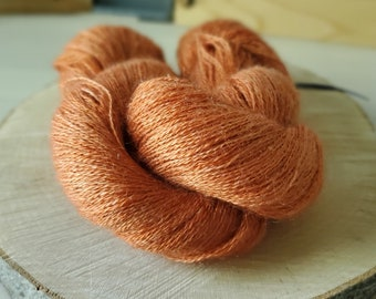 Rust, Lace Weight Yarn, Farm Grown Kid Mohair - Wool - Silk (70/20/10), Hand dyed Skein,Semi-solid, Butterfly Kisses Yarn, 438m/50g
