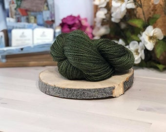 Khaki, Fingering Weight Yarn, Farm Grown Kid Mohair - Silk - Wool (75/15/10),  Hand dyed Skein, Semi-solid, Fireweed Yarn, 355m/100g