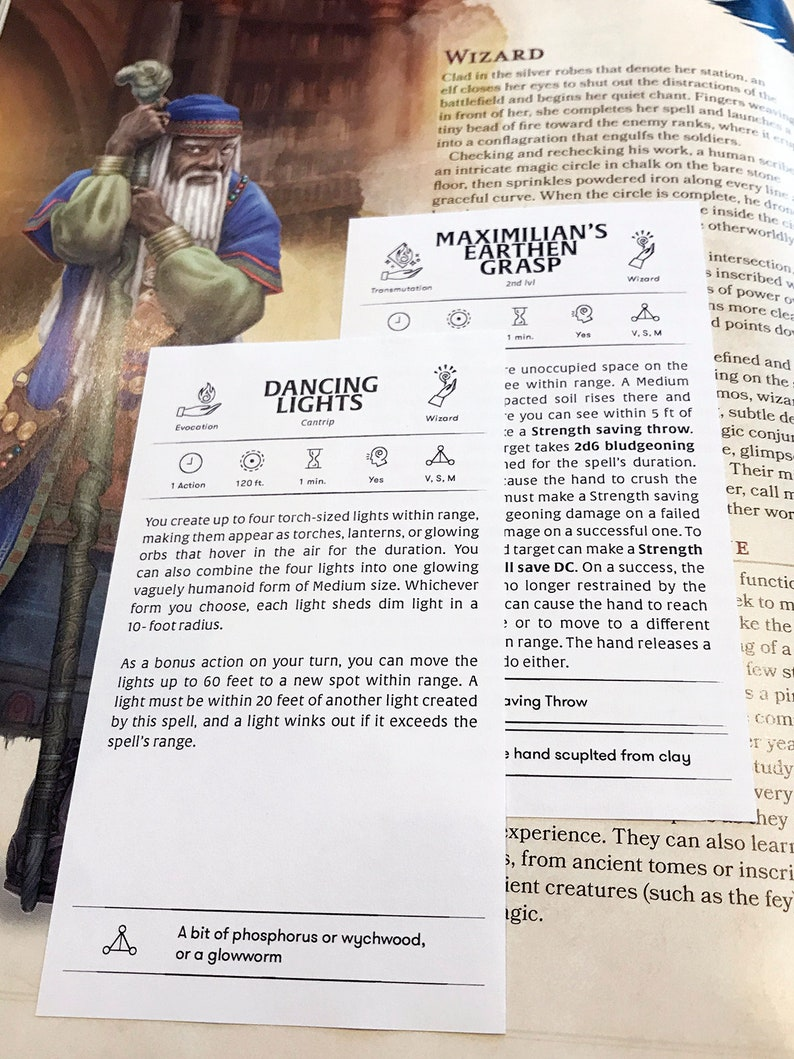 Custom Wizard Spell Cards - Dungeons and Dragons - DnD 5e