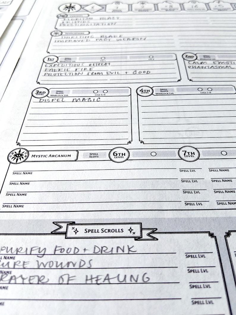 Warlock Custom Character Sheet - DnD 5e - Printable and Form-Fillable