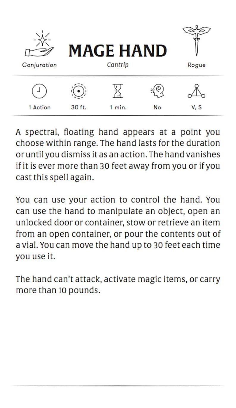 Custom Rogue (Arcane Trickster) Spell Cards - Dungeons and Dragons - DnD 5e