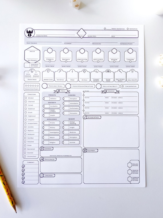 It is an image of D&d 5e Printable Character Sheet intended for beginner