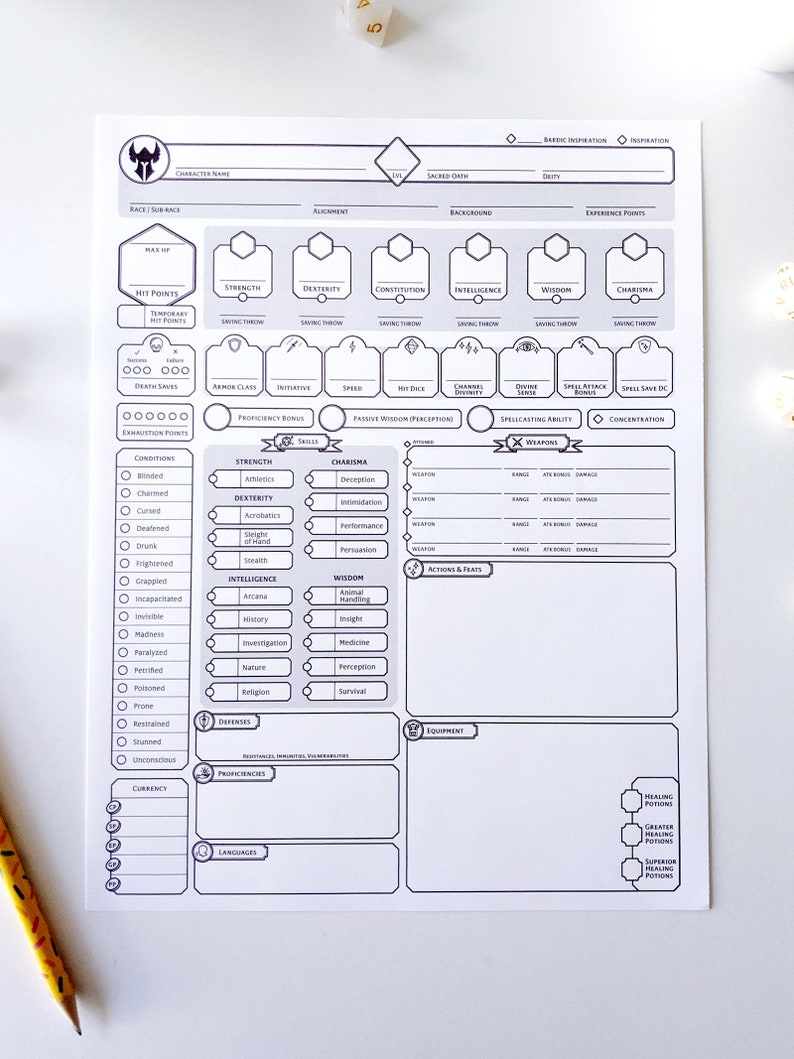 photo about 5e Printable Character Sheet named Paladin Customized Individuality Sheet - DnD 5e - Printable and Sort-Fillable