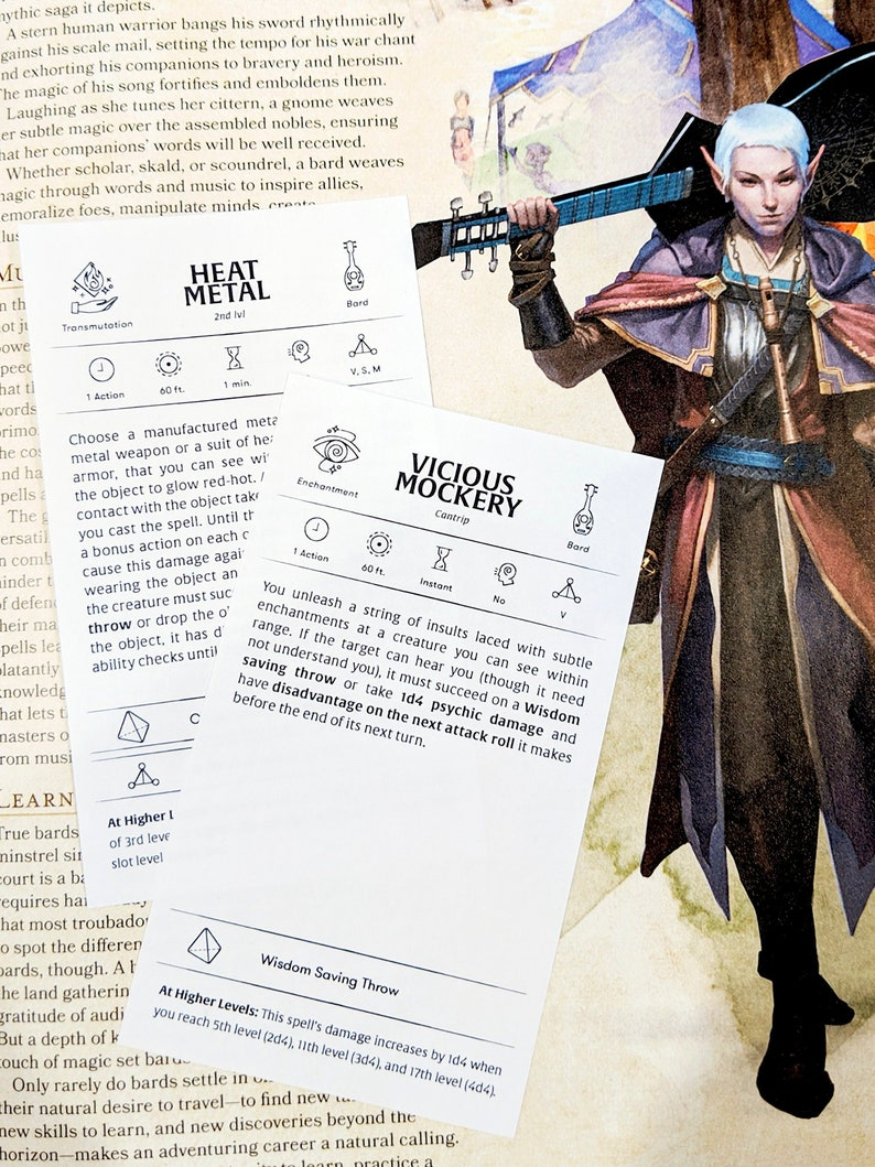 Custom Bard Spell Cards - Dungeons and Dragons - DnD 5e