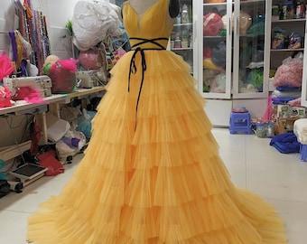 Beautiful Yellow fancy dress - prom dress