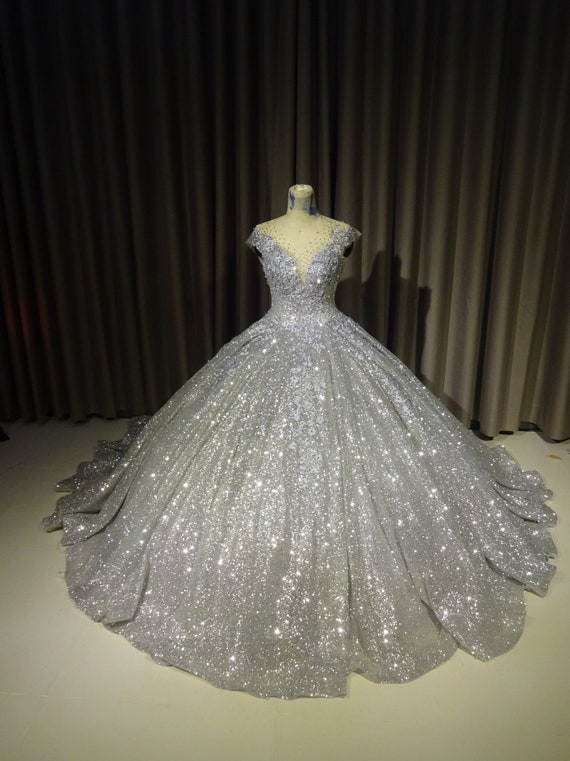 Sparkly Silver Gown Silver Dress Silver Ballgown Etsy