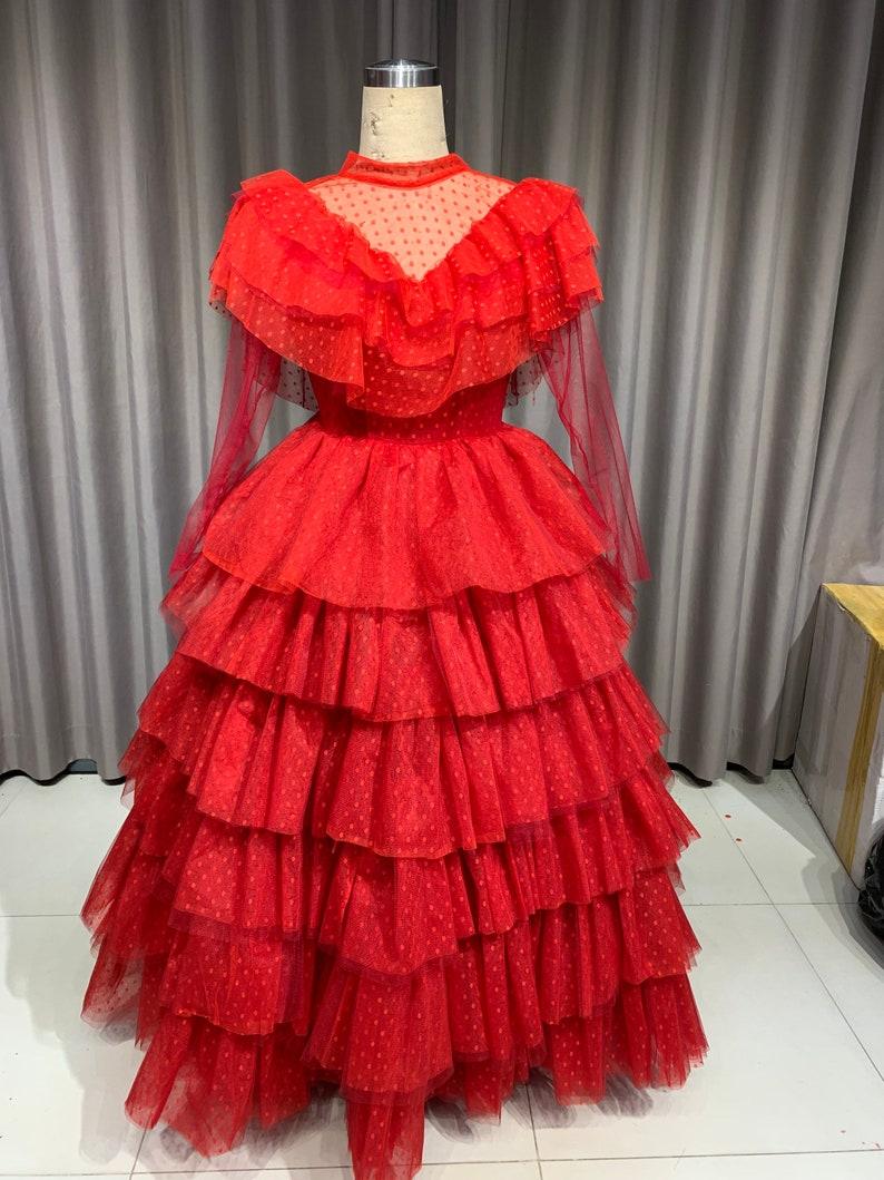 Victorian Dresses | Victorian Ballgowns | Victorian Clothing Halloween Costume Adult - Lydia Bride Beetlejuice Costume - Lydia Costume - Red Dress - Red Costume $390.00 AT vintagedancer.com