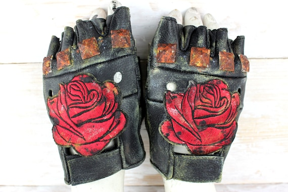 sneakers huge inventory best price Rotten Roses Gloves - Apocalyptic Gloves - Gloves with Brads - Leather  Biker Gloves - Tactical Gloves - Burning Man Accessories - Cosplay