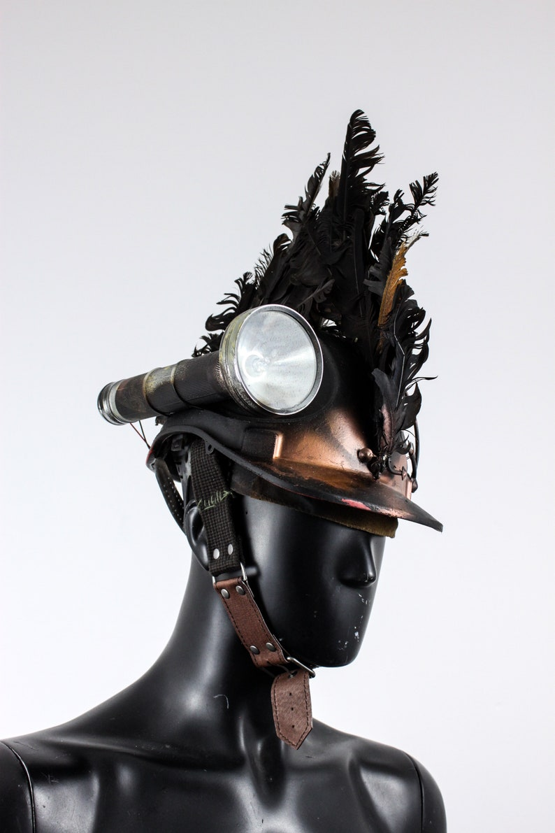 Flashlight Helm Post Apocalyptic Cap Wasteland Helmet Feathered Mohawk Apocalyptic Miner Hat Apocalypse Headpiece Copper Helm