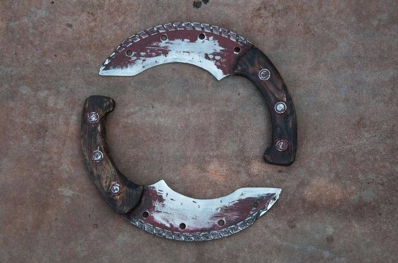 Two Knifes - Double Knifes - Match Pair of Letter Openers - Wasteland  Cutlery - Rusted Cooking Knives, Railroad Spike Knives, Razors