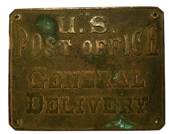Antique U.S. Post Office General Delivery Brass Postal History 1860 90  General Store Mail Slot
