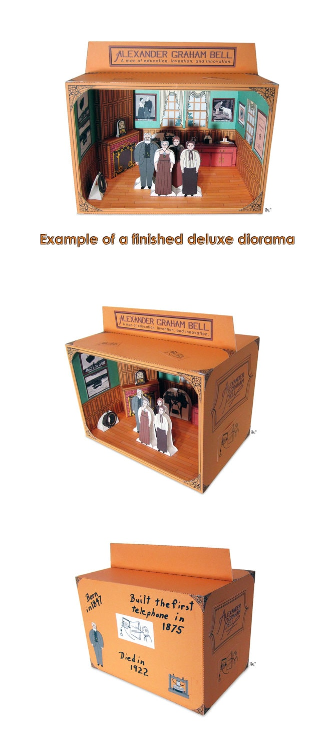 Alexander Graham Bell Diorama Educational Paper Toy Kit Etsy